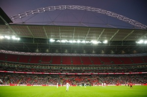 Wembley stadium England v Norway half empty